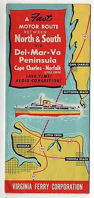 1949 VIRGINIA FERRY CORPORATION Brochure LITTLE CREEK Cape Charles DELMARVA Ship