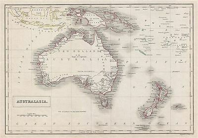 1840 Black Map of Australia and New Zealand