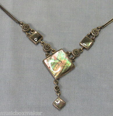 Art Deco Nouveau Sterling Silver & Abalone necklace pendant 16.5 inch 17.3 grams