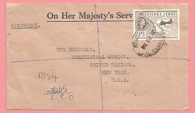 1959 Sierra Leone 1/3P Qeii #203 On Single Franked Registered Cover To Usa
