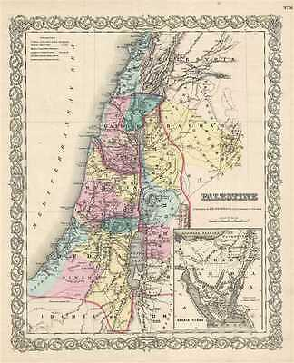 1856 Colton Map of Israel, Palestine or the Holy Land
