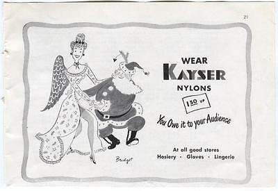 1940s 1948 Vintage Christmas Ad KAYSER NYLONS Ladies Lingerie Stockings Hosiery