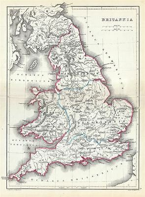 1867 Hughes Map of England in Ancient Roman Times