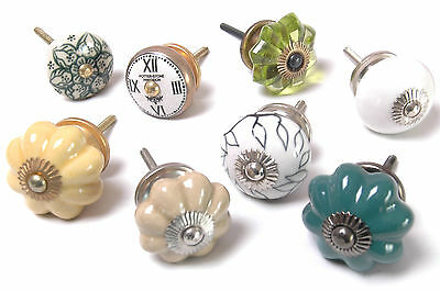 8 x Mixed Vintage Style Ceramic Cupboard Knob Drawer Pull Kitchen Knobs (MG-102)