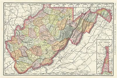 1888 Rand McNally Map of West Virginia, United States