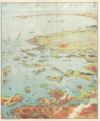 1905 Murphy View Map of Boston Harbor: Boston to Cape Cod