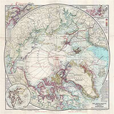 1909 J. N. Matthews Map of the North Pole showing conflicting claims of Cook and
