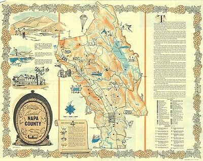 1963 Weld Wilkie Pictorial Map of Napa County, California
