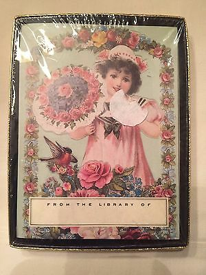 Antioch Bookplates Victorian Girl In Original Box  Roses And Robin Usa Made