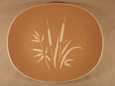 """Harkerware Everglades 11"""" Serving Platter Dish Tray Cattails Harker Pink Taupe A"""