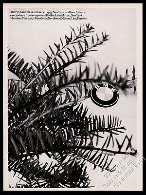 1965 BMW motorcycle logo and Christmas tree branches photo vintage print ad