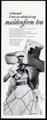 1954 Maidenform Bra woman and polar bear photo vintage print ad