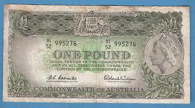 1961-65 Australia One Pound Note, Coombs & Wilson Signature