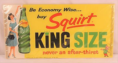 "Squirt Soda 1960 Paper Store Sign 16"" x 8"" ""Economy Wise King Size"" NOS"