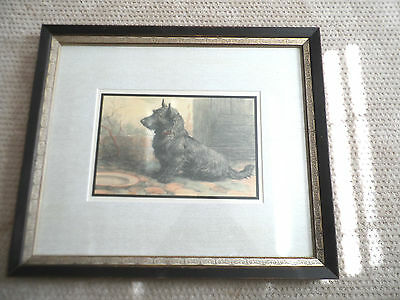 Scottish Terrier/Scottie/Scotty Framed Matted Print From Herbert Dicksee etching