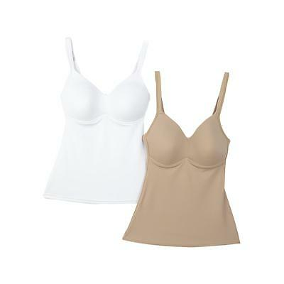 Rhonda Shear Plus Size Camisole 3X 2-Pack Molded Cup White / Nude NEW NWOT