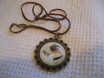 FOX TERRIER DOG  NECKLACE Reverse carved & painted Vintage intaglio glass charm