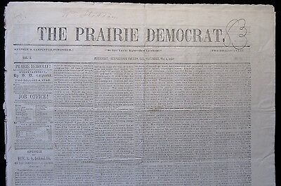 RARE 1850 FREEPORT IL Illinois STEPHENSON COUNTY Newspaper-STEPHEN A DOUGLAS
