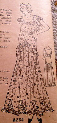 RARE VTG 1930s EVENING DRESS Ladies Home Journal Sewing Pattern BUST 36 UNCUT
