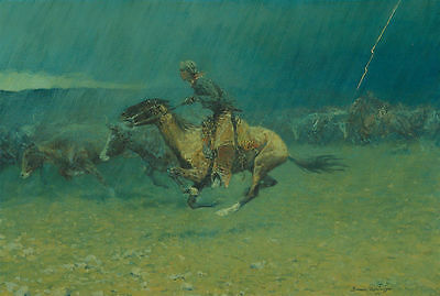Frederic Remington Oil Painting repro Stampede