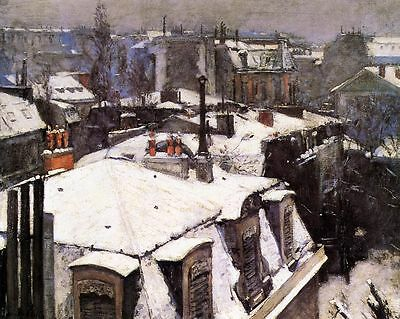 Custom Oil Painting repro Gustave Caillebotte Rooftops Under Snow