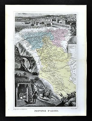 1877 Migeon Map Alger Province Algeria Algers French North Africa Barbary Coast