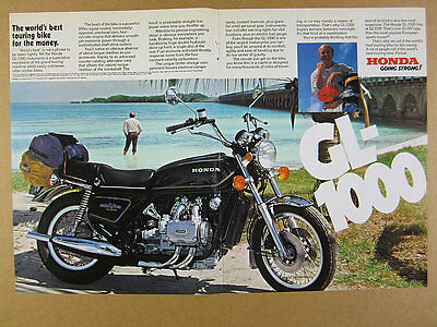 1977 Honda GL1000 GL-1000 GoldWing Motorcycle color photo vintage print Ad