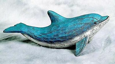 Blue Dolphin with Faux Hand Carved Wood Figure New