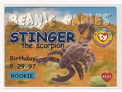 1998 Beanie Babies Birthday Or Rookie Blue #46 Stinger The Scorpion