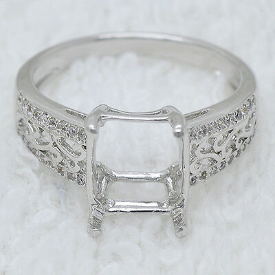 Party 9x9mm Square Cut 14K White Gold Semi Mount Ring With Natural Diamonds
