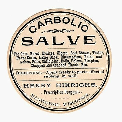 45 Henry Hinrichs Co Carbolic Salve Bottle Or Tin Labels Manitowoc Wi   Unused
