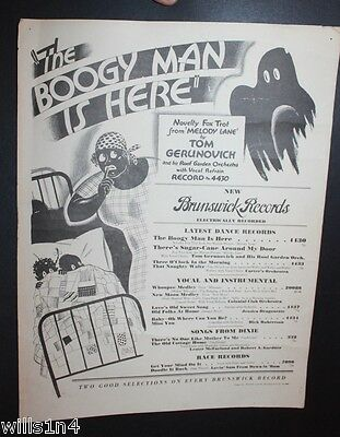 """Original 1929 Brunswick Records Poster """"The Boogy Man is Here"""""""