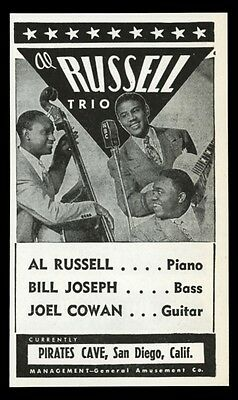 1944 Al Russell Trio photo vintage music trade booking ad