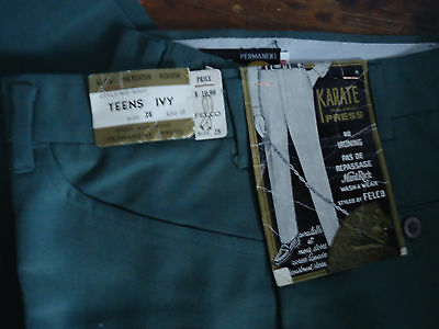 NOS TEEN 60s VTG TAPERED  IVY PREPPY CHINOS PANTS 28x30  CANADA DESIGN