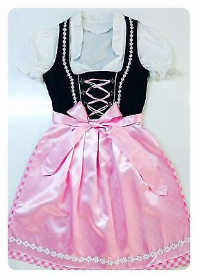 NEW.German,Trachten,Oktoberfest,Dirndl Dress,3-pc.Sz.12,Black,Pinks.US Seller
