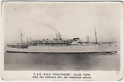 RMS STRATHMORE - Peninsular and Oriental Liner - c1930s era  Real Photo postcard