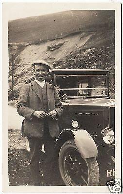 CAR / AUTOMOBILE - Hilly Location -  c1930s era Motoring Real Photo postcard