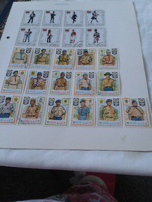 24 MANAMA STAMPS, 2 SETS OF SOLDIERS, 1970s AND EARLIER.