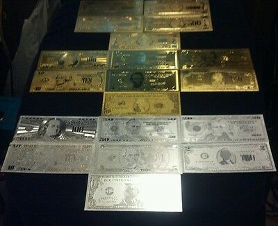 ~23Pc.LOT-2 COINS & 24K GOLD &.999 FINE SILVER BANKNOTES$1-$100,000+2-FLAKE!~