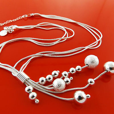 A918 Genuine Real 925 Sterling Silver S/f Ladies Bead Long Drop Necklace Chain