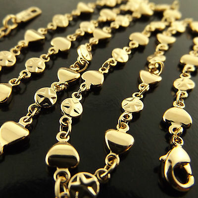 A485 Genuine Real 18Ct Yellow G/f Gold Ladies Heart Charm Pendant Necklace Chain