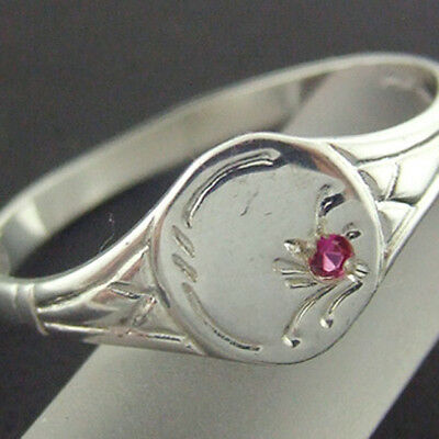 Ffs3-3Sr Real Hallmarked 925 Sterling Silver Ruby Classic Signet Ring Size 7