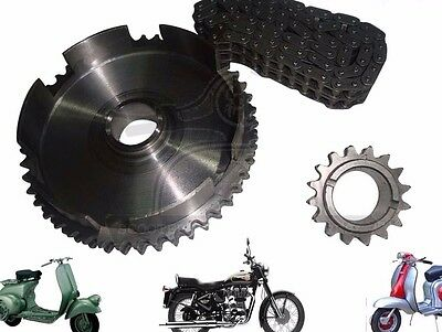 New Lambretta Chain  Front & Rear Sprocket Kit 80 Link 46 & 16 Cogs @cad