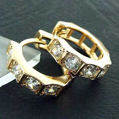 An868 Genuine Real 18K Yellow G/f Gold Diamond Simulated Mens Stud Hoop Earrings