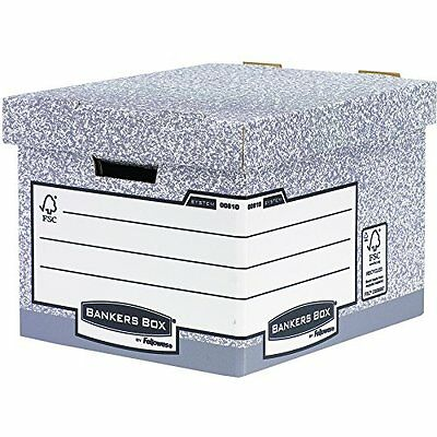 #10xFellowes BANKERS BOX SYSTEM Große Archiv-/Transportbox, grau