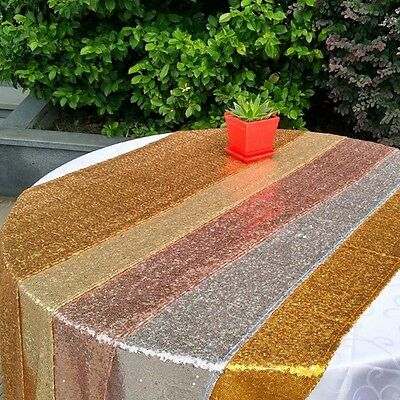 2 Size Silver/Gold/Rose/Champagne Sequin Table Runner Spark Wedding Party Decor