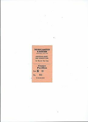 ticket fairs cup 1st rd 69/70 newcastle united v dundee united