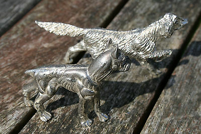 Boxer Dog And Pointer Silver Finish Metal Models