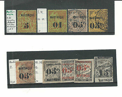 Martinique 1886-1927 - 14 classic stamps in good clean condition-high catalogue