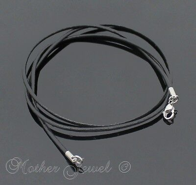 60Cm Long Black Real Leather Cord Chain Mens Womens Stainless Steel Necklace 24""